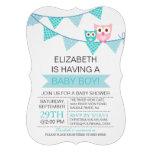 Modern Blue Bunting Pennant Owl Boy Baby Shower Custom Invite