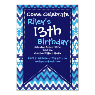 "Modern Blue Chevron Birthday Party Invitations 4.5"" X 6.25"" Invitation Card"