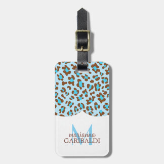 Modern Blue Choco Animal Print Girly Personalized Bag Tag