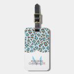 Modern Blue Choco Animal Print Girly Personalized Travel Bag Tag