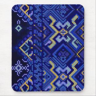 Modern Blue Cross Stitch Embroidery Mousepad