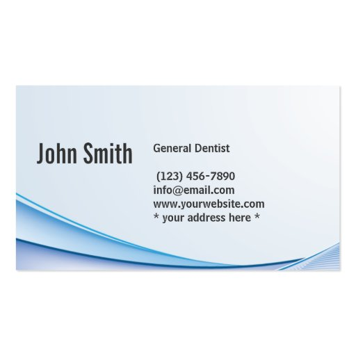 Modern Blue Curve Dental Care Business Card (back side)