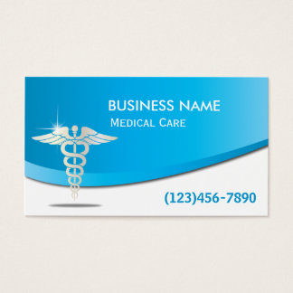 Modern Blue Curve Medical Care Business Cards
