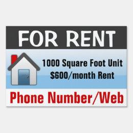 Modern Blue Custom For Rent Sign