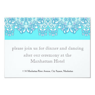 Modern Blue Damask Wedding Card