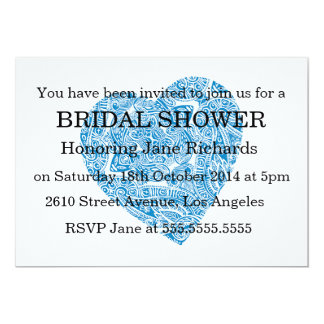Modern Blue Damask Wedding Shower Custom Announcement