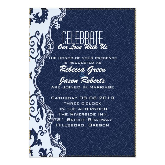 modern blue denim lace Floral country wedding Card