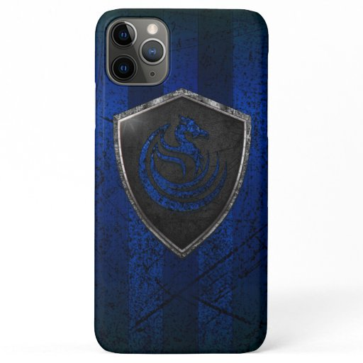 Modern Blue Dragon Emblem Coat Of Arms iPhone 11 Pro Max Case