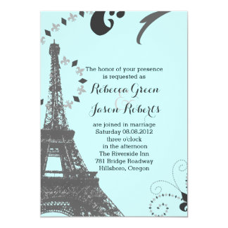 modern blue eiffel tower vintage paris wedding card