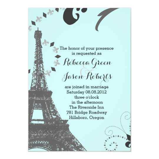 Modern Blue Eiffel Tower Vintage Paris Wedding Invitation Zazzle Com