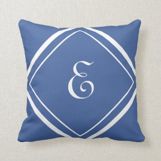 Modern Blue Elegant Script Monogram Throw Pillow