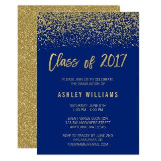 Blue Glitter Graduation Invitations Announcements Zazzle