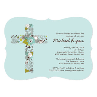 "Modern Blue Floral Cross Boys Baptism Invitation 5"" X 7"" Invitation Card"