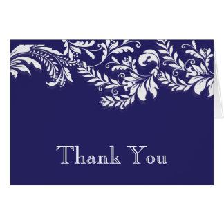 Modern Blue Floral Leaf Flourish Thank You Note Card