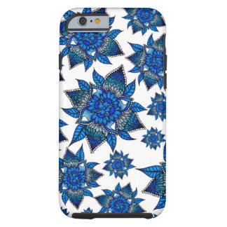 Modern blue floral mandala pattern illustration tough iPhone 6 case