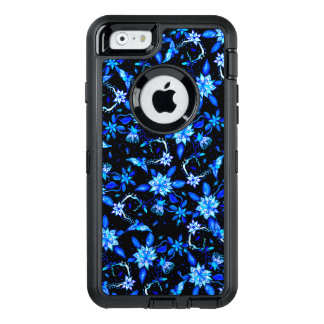 Modern blue floral paisley watercolor pattern OtterBox defender iPhone case
