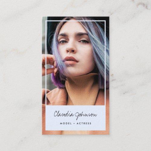 Modern blue frame actor model singer dancer photo business card