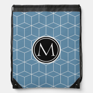 Modern Blue Geometric and Monogrammed Pattern Drawstring Backpack