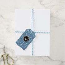 Modern Blue Geometric and Monogrammed Pattern Gift Tags