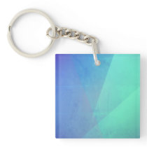 Modern Blue Geometric Gradation Keychain