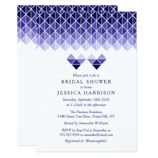 Modern Blue Geometric Love Hearts Bridal Shower Card