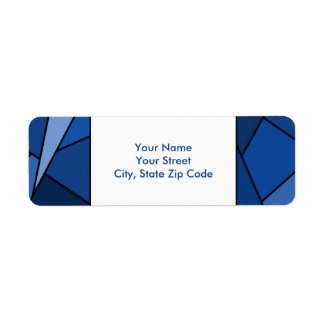 Modern Blue Geometric Shapes return address label