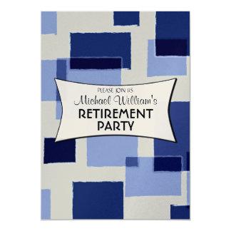 Modern Blue Geometric Squares retirement party Card