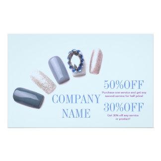 "modern blue girly beauty salon nail artist 5.5"" x 8.5"" flyer"