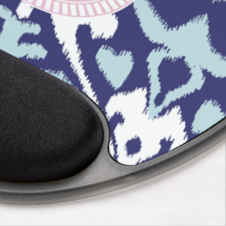 Modern blue girly ikat tribal pattern monogram gel mouse pad