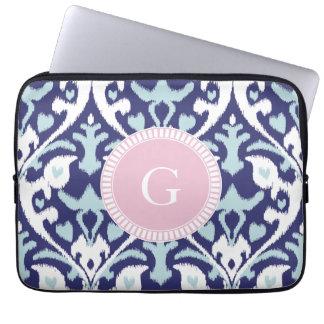 Modern blue girly ikat tribal pattern monogram laptop sleeve