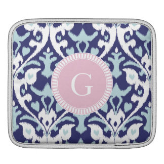 Modern blue girly ikat tribal pattern monogram sleeve for iPads