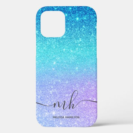 Modern blue glitter ombre purple chic monogrammed iPhone 12 pro case
