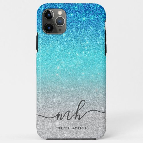 Modern blue glitter ombre silver chic monogrammed Phone Case