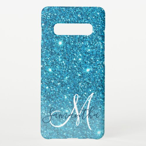 Modern Blue Glitter Sparkles Personalized Name Phone Case