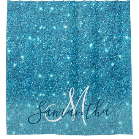 Modern Blue Glitter Sparkles Personalized Name Shower Curtain