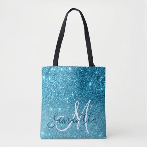 Modern Blue Glitter Sparkles Personalized Name Tote Bag