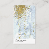 Modern Blue Gold Brush Strokes Watercolor Business Business Card