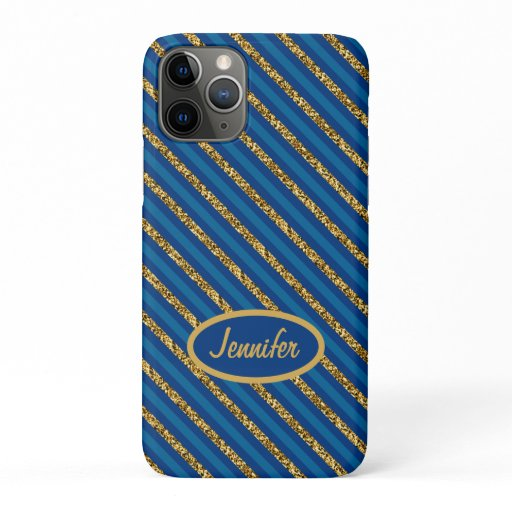 Modern Blue & Gold Stripes Personalize Name iPhone 11 Pro Case