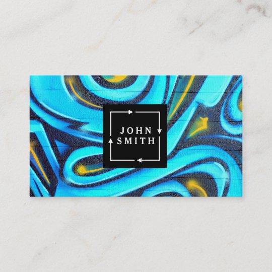 Modern Blue Graffiti Cool Abstract Art Business Card