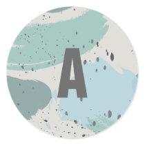 Modern Blue Gray Brush Strokes Monogram Sticker