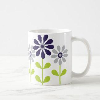 Modern Blue Gray Floral Pattern Coffee Mug