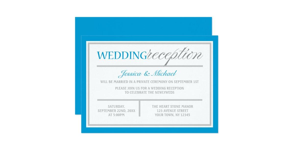 Modern Blue Amp Gray Wedding Reception Invitation