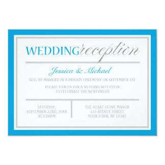 Modern Blue & Gray Wedding Reception Invitation