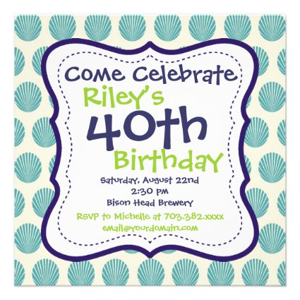 Modern Blue Green 40th Birthday Party Invitation