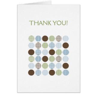 Modern Blue Green Brown Dot Thank You Notes