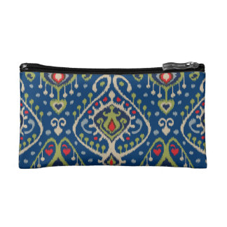 Modern blue green ikat tribal pattern cosmetic bags