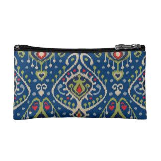 Modern blue green ikat tribal pattern cosmetic bag