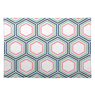 Modern Blue Green Pink Geometric Pattern Cloth Placemat