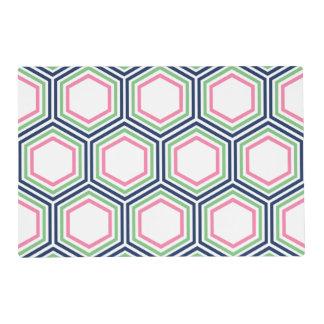 Modern Blue Green Pink Geometric Pattern Placemat