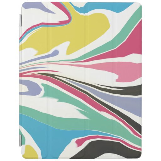 Modern Blue Green Pink Marbled Acrylic Pouring iPad Smart Cover